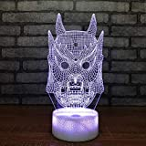Skull Night Light, Bedside Desk Lamp 7 Colors Change for Kids Optical Illusion Lamps-A Great Gift for Boys and Girls (Skull)