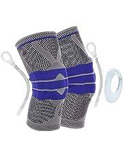 قطعتان من دعامة الركبة القابلة للتعديل لممارسة الرياضة - مناسبة للركب ولممارسة رياضة الركض ولعب كرة السلة وكرة الطائرة وركوب الدراجات الجبلية وغيرها من الانشطة الرياضية