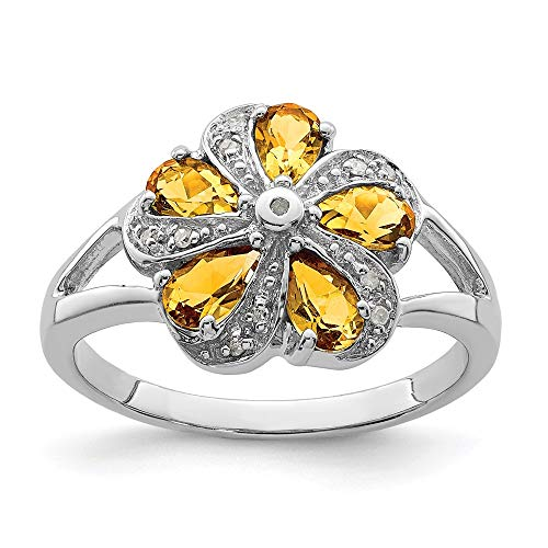 925 Sterling Silver Yellow Citrine Diamond Band Ring Size 6.00 Stone Flowers/leaf Gemstone Fine Jewelry Gifts For Women For Her ()