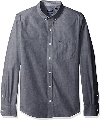 Linen Cargo Shirts - IZOD Men's Performance Natural Stretch Solid Long Sleeve Shirt (Regular and Slim Fit)