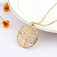 Tree of Life Charm Pendant Choker Gold/Silver Metal Chain Necklace Jewellery HG#by pimchanok shop (Gold)