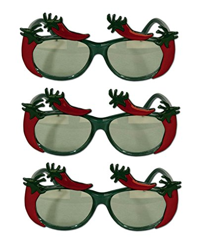 Dragonfly Costume Make (Beistle Chili Pepper Fanci-Frames Costume Glasses (Pack of 3))
