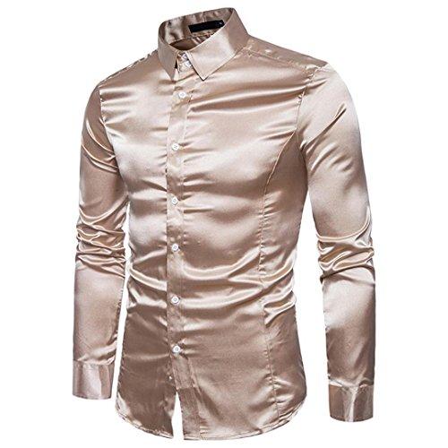 manga Casual Casual Top Camisa Khaki de Moda Personalidad Hombres Tops Solid larga Aimee7 tqaXZxUwa