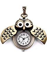 CSMARTE Bronze Owl Pocket Watch Necklace Watch with Chain