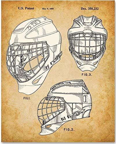 - Hockey Goaltender Mask - 11x14 Unframed Patent Print - Makes a Great Gift Under $15 for Athletes