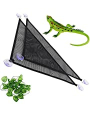 """2 Pack Reptile Hammock Set with Fake Plants Breathable Mesh Lizard Hammock Resting Place & Ladder Accessories Set (13"""" x 13"""" x 19"""")"""