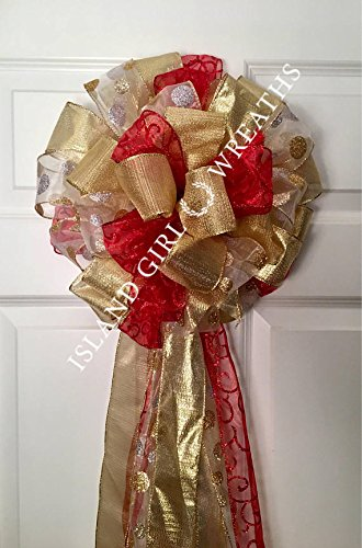 ribbon tree topper christmas tree bow christmas tree topper red and gold christmas