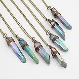 Raw gray rainbow titanium quartz point antique bronze chain pendant necklace 22 in