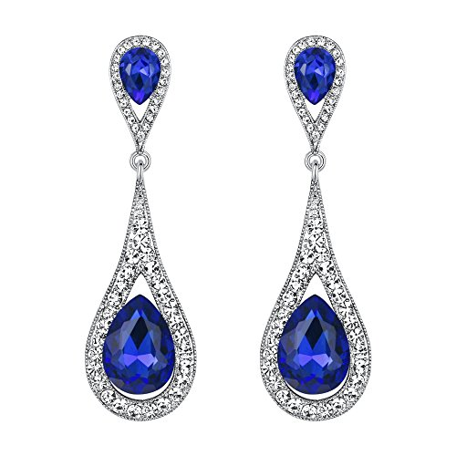 EVER FAITH Women's Austrian Crystal Elegant Dual Teardrop Pierced Dangle Earrings Royal Blue Silver-Tone