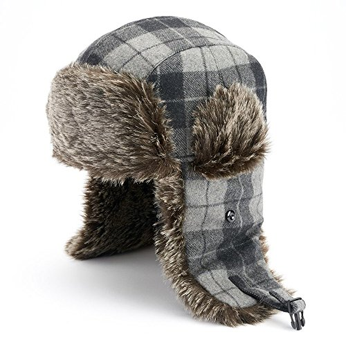 Apt. 9 Plaid Trapper Hat - Men (Black, Grey) from Apt 9