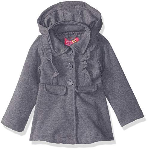 Pink Platinum Baby Girls Fleece Ruffle Jacket, Heather Grey, 18M
