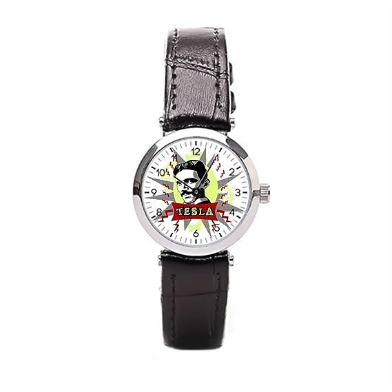 momoc piel reloj Mujer Tesla ciencia marrón correa de cuero relojes