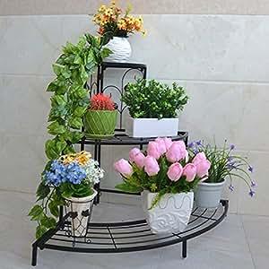 Triangle Corner Iron Flower Stand / Multilayer Floor Style Flowerpot Shelf / European Style Simple Flower Shelf / Living Room Indoor Bonsai Rack / ( Color : Black )