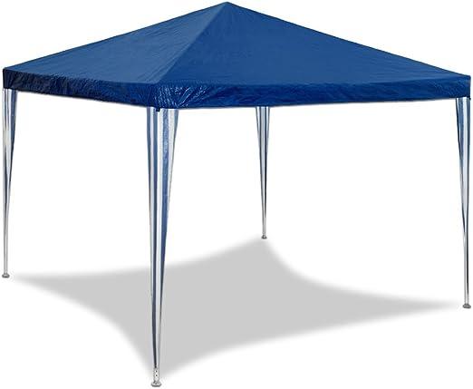 HG® 3x3m en azul Pabellón plegable Pabellón Tienda Tienda de jardín Protección solar Popup Pabellón de jardín Popup Pabellón de cerveza Tienda de campaña Costuras selladas impermeables Tienda plegable: Amazon.es: Jardín