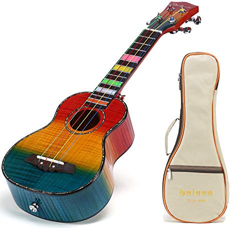 Balnna Soprano Ukulele Maple 21 inch Traditional High-gloss Rainbow Learn to Play,Color String with Soft Case Gig Bag - Tiger Eye Maple