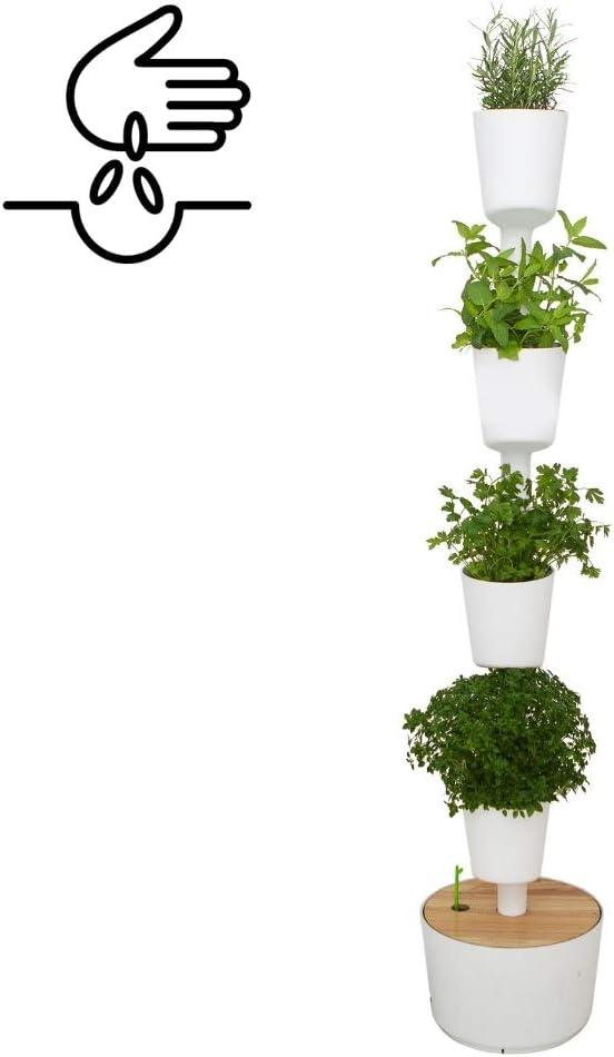 Kit Huerto urbano vertical con autorriego digital, blanco, 4 macetas