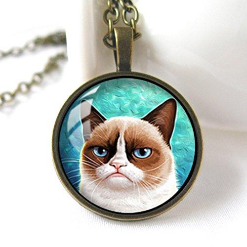 Handmade Glass Dome Necklace, Grumpy Cat