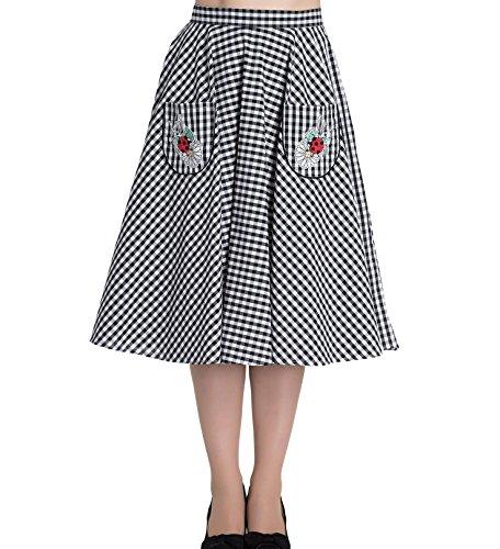 Hell-Bunny-50s-LADYBIRD-Skirt-Rockabilly-Gingham-Retro-White-3XL-20