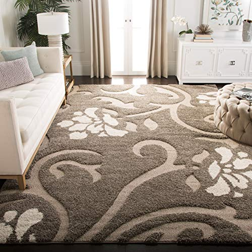 Safavieh Floral Area Rugs - Safavieh Florida Shag Collection SG464-7913 Smoke and Beige Area Rug (8' x 10')