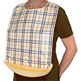 Waterproof Adult Senior Elderly Bib Apron Mealtime Clothing Protector with Detachable Crumb Catcher (Plaid)