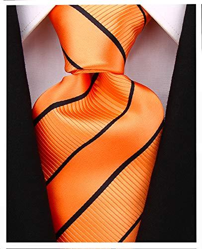 Striped Ties for Men - Woven Necktie - Orange w/Black ()