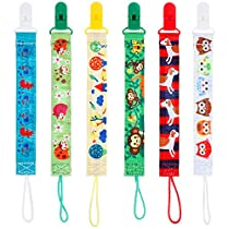 Lictin 6pcs 2-Sided Dummy Chains Pacifier Chains Pacifier Clip Beaded Designs Soother Chains Soother Clip Soother Holder Soother Clip with Baby Name DIY Design Great Gift for Newborn