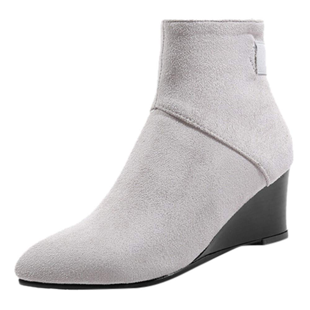 Wllsagl Xouwvpm Platform High Heel Boots,Women Suede Wedges Zipper Solid Color Short Booties Retro Round Toe Shoes Jagged by Wllsagl Xouwvpm boot