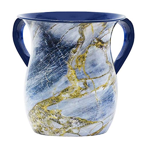 The Kosher Cook Stainless Steel Netilat Yadayim Cup - Blue and Gold Stone Painted Design - Looks Like Ceramic - Rust, Break and Crack Proof Negel Vasser Cup - Judaica - Cup Ceramic Wash