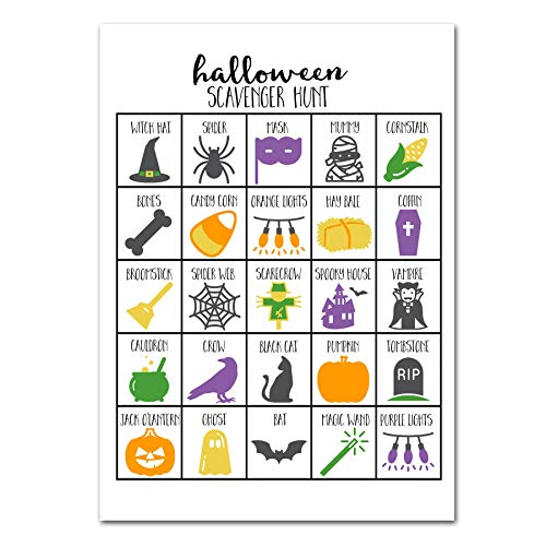Halloween Scavenger Hunts For Adults (Halloween Scavenger Hunt Game for Kids, Halloween Party Game, Dry Erase (marker)