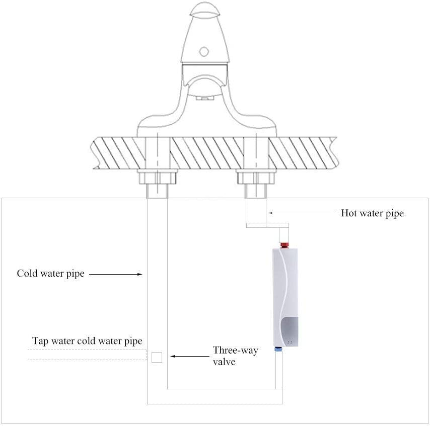 blanco Calentador el/éctrico instant/áneo calentamiento del agua 220/V 3000/W para ba/ño cocina Mini mueble instant/áneo