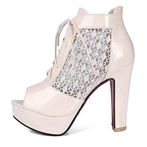 Toe Chaussures Beige Bottines Chunky Taoffen Peep D'été Femmes Lacets AcWnFpE