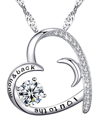 Love Heart Half Moon Jewelry Gifts for Women I Love You to the Moon and Back Necklace Diamond Moon Sun and Heart Pendant Birthday Anniversary Gift for Her Sterling Silver Swarovski