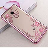 LOXXO Loxx Soft TPU Silicone Auora Flower Back Cover Case With Sparkle Swarovski Crystals For Xiomi Redmi Note 4 (Rose Gold)