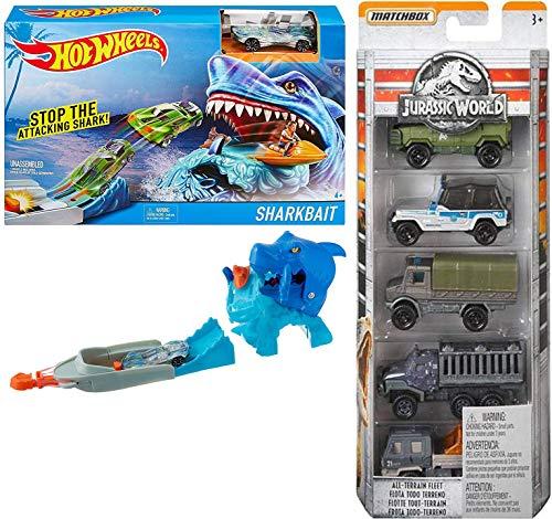 - Hot Wheels Creature Park Dino Jurassic World Classic Legacy Collection Matchbox 5-Pack Beast Pack Shark Bait / Island Explorers Off-Road Fleet Vehicles