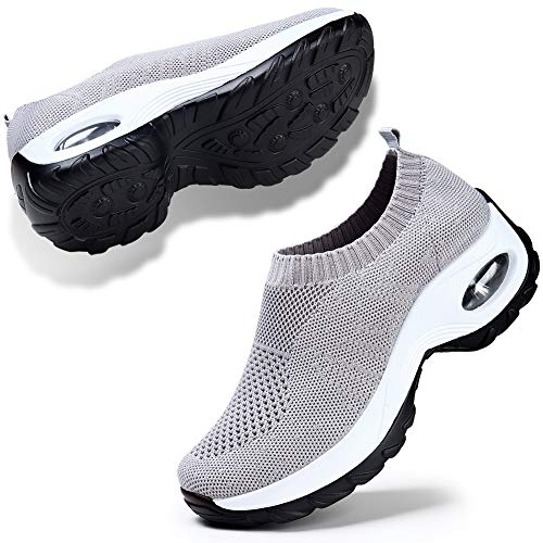 Cushion Womens Sock - Women's Sock Sneakers Walking Shoes Mesh Slip On Air Cushion Lady Girls Modern Jazz Dance Easy Shoes Platform Loafers Grey 6.5