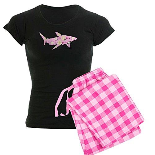 CafePress - Pink Floral Shark - Womens Novelty Cotton Pajama Set, Comfortable PJ Sleepwear (Shark Footed Pajamas Adult)