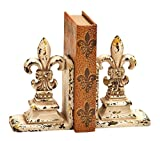 Bellaa 25600 Decorative Fleur-de-Lis Bookends Set, Library Polystone Book Holder