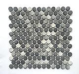 3/4 X 3/4 Penny Round Grey Glossy Finish Porcelain Mosaic...