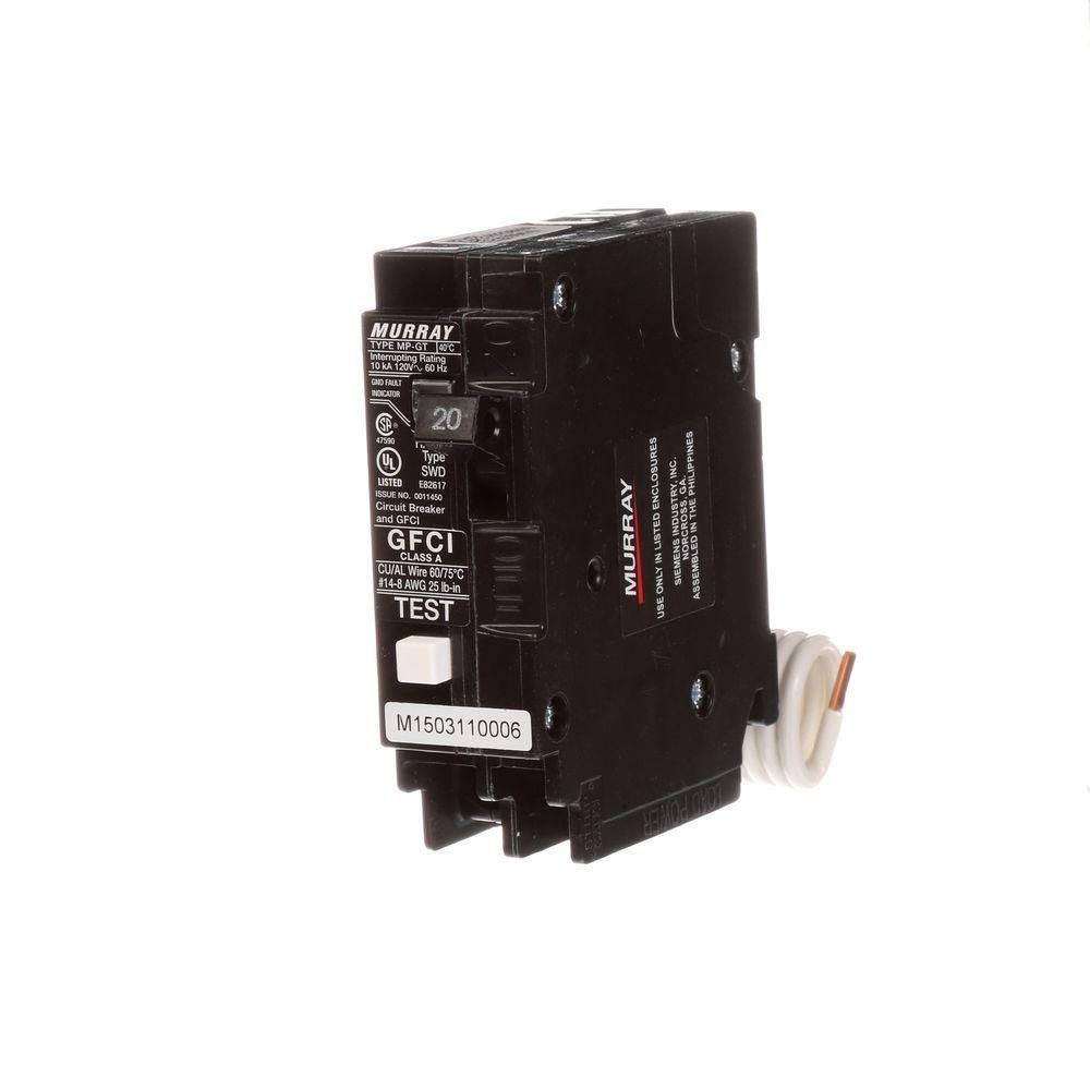 Murray MP120GFAP 20A 1P Self-Test GFCI & Circuit Breaker Siemens
