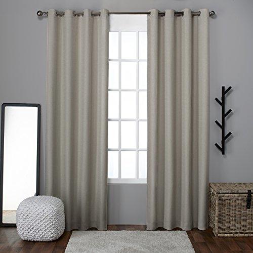 Exclusive Home Loha Linen Grommet Top Window Curtain Panels (Set of 2), Natural, 52