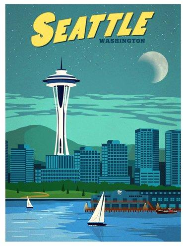 [해외]American Vinyl Vintage Art Seattle Washington Sticker (wa rv Visit) / American Vinyl Vintage Art Seattle Washington Sticker (wa rv Visit)