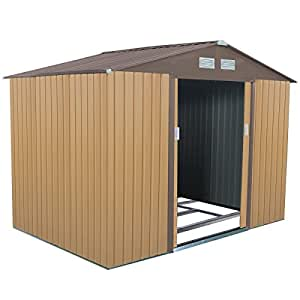9' X 6' Outdoor Garden Storage Shed Tool House Sliding Door Steel Khaki + Brown New