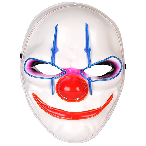 Cece Light Up Clown Mask w/ Creepy Smile Glowing for Halloween Rave Costume Party