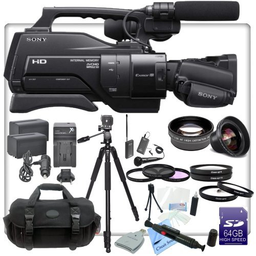 Sony HXR-MC2000U Shoulder Mount AVCHD Camcorder With CS Interview Kit: Includes Wireless Lapel & Handheld Microphone, 72'' Aluminum Tripod, Weather Resistant Soft Case, 2 Sony NP-F970 Replacement Batteries, Rapid Travel Charger With Car Adapter, High Defin by Sony