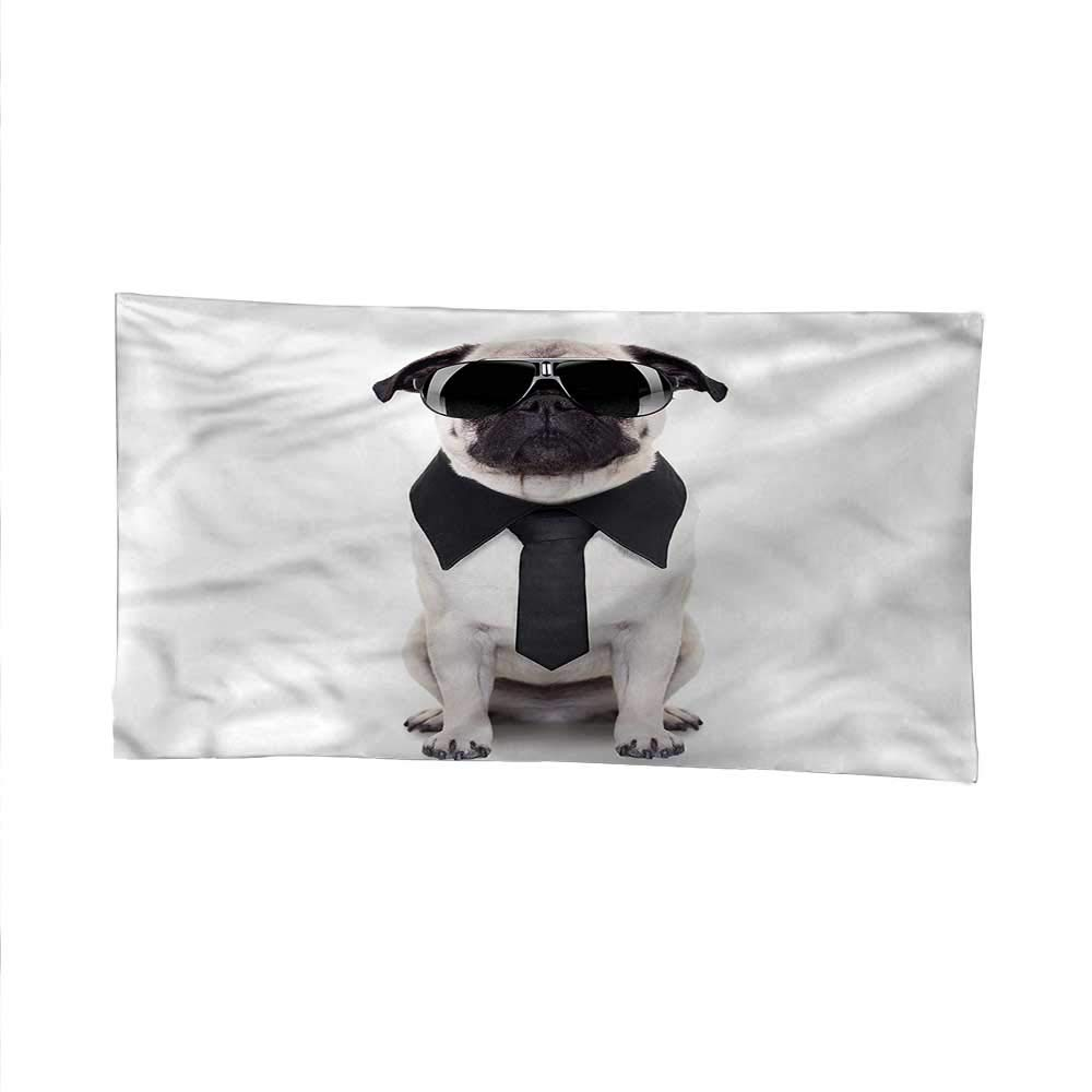 Pugoutdoor tapestryceiling tapestryCool Dog with Tie Glasses 93W x 70L Inch