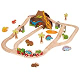 Bigjigs Rail Wooden Dinosaur Train Set - 49 Play Pieces
