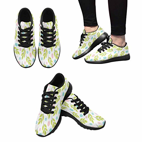 InterestPrint Womens Trail Running Shoes Jogging Lightweight Sports Walking Athletic Sneakers Easter Flowers, Branches and Eggs Multi 1