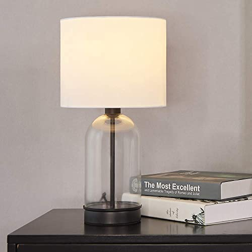 Cuaulans 16.15-inch High Living Room Bedroom Glass Table Lamp, Black Cylindrical Side Desk Lamp with white Fabric Shade and Glass Body