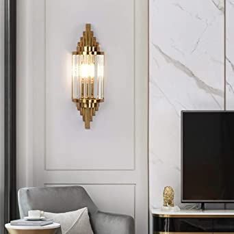 Luz de lujo simple moderna lámpara de pared de cristal salón creativo dormitorio pasillo escalera lámpara de pared Luz cálida de una sola cabeza dorada: Amazon.es: Iluminación