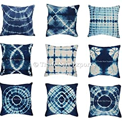 Trade Star Exports Set Of 5 Tie Dye Cushion Cover, 16x16 Indigo Pillowcase, Shibori Cushion, Cotton Square Pillow Cover, Boho Decorative Throw Pillows